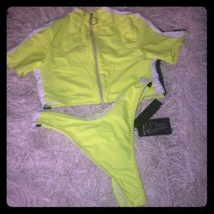 Swim - Neon Two Piece Swimsuit With Exposed Zipper
